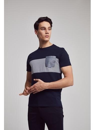 TWN Slim Fit Çizgi Desenli T-Shirt Lacivert